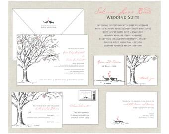 Love Birds Wedding Invitations, Elegant Wedding, Cherry Blossom Wedding Invites, Tree Wedding Invitation, Gray, Pink, Coral, Birds, Sakura