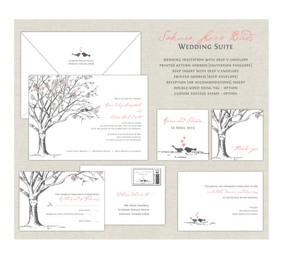 love birds wedding invitations elegant wedding cherry, Wedding invitations