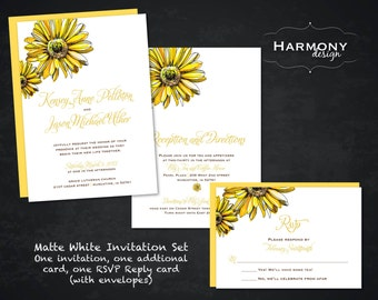 Yellow Daisy Wedding Ensemble, Single-sided White Invite with matching envelopes. Matching Menus, Seating Chart, & Table Numbers Available