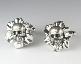 Steampunk Cufflinks Gothic Skull and Flower Cuff Links by Steampunk Vintage Design