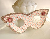 Retro Red White and Blue Stars Masquerade Mask with Gold Glitter