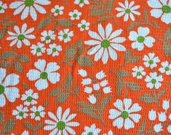 Vintage Fabric - Daisies on Orange Red Waffle - 33 x 46