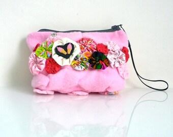Pink Pouch - Ice Cream Heart - Fabric Yo-Yo's - Zippered Wristlet - OOAK - Handmade in USA