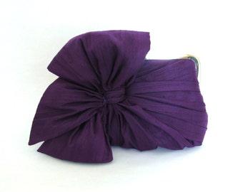 Silk Bow Clutch Purple, Bridal Accessories, Bridal Clutch, Bridesmaid Clutch, Clutch Purse, Formal clutch