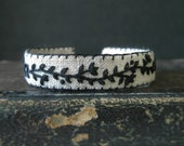 Embroidery Cuff Bracelet - Hand Embroidered Black Vine on Natural Linen