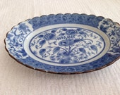Oriental dish, vintage dish blue and white, blue and white dish