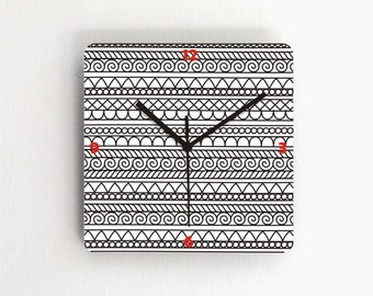 Wall clock,Black White Trible geometric Modern clock,Minimalist living room bedroom unique handmade graphic design wall clock