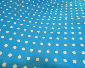 Turquoise White Polka Dots Spandex Fabric