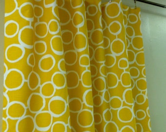 Pair (two 50W panels) rod pocket designer curtains drapes, Freehand corn yellow and white