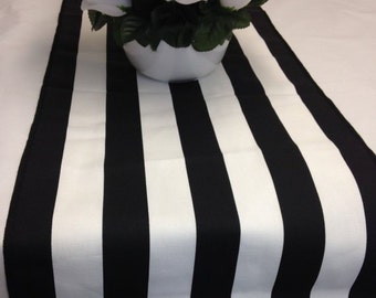 "Black and white 1.5"" stripe Wedding party table runner, wedding decorations, tablerunner"