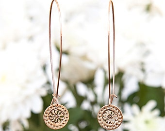 Rose Gold earrings, Long earrings, Modern jewelry, Dangly earrings, Flower design, Rose Gold earrings, Elegant earrings