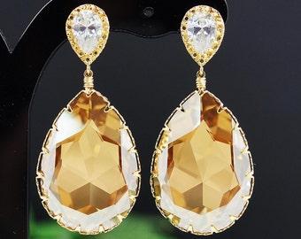 Wedding Bridal Jewelry Bridal Earrings Dangle Earrings HUGE Golden Shadow Swarovski tear drop Bridesmaid Gift