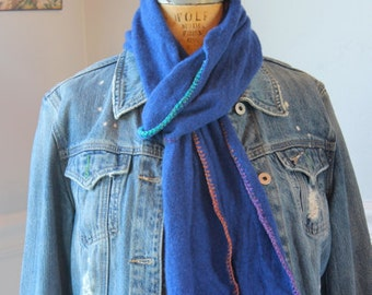 Lush, hand-crocheted scarves made from repurposed cashmere sweaters (in royal blue).