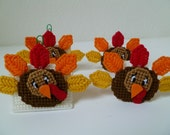 Thanksgiving Turkey Napkin Rings and Placecard Holders Set of 2