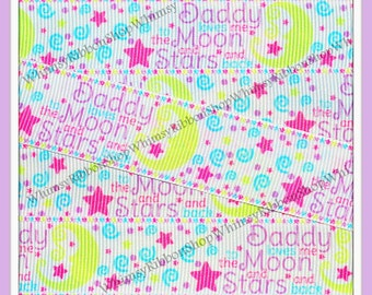 1, 2, 3, 4 or 5 yards 7/8 DADDY Loves Me MOON stars swirls WHITE Grosgrain Ribbon Hair bow Sewing chevron paisley pink blue lavender yellow