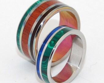 Titanium Wedding Rings, wooden wedding ring, titanium ring, stone ring, malachite ring, horn ring, - NARRA and I'll SWIM to your SHORE