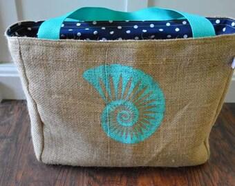 Handmade Sea Shell Burlap Market Tote Bag