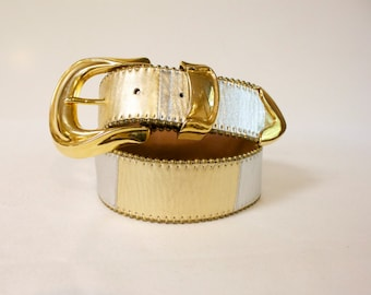 Vintage Simon Belt Silver and Gold Color Block size small