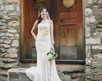 SALE Vintage Design Strapless Sweetheart Cotton Lace Mermaid Wedding Dress   Y130506