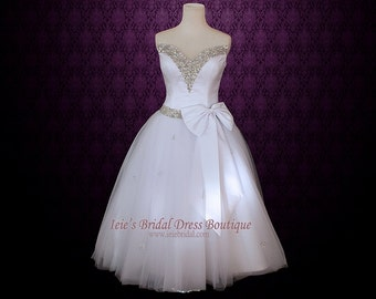 Strapless Retro 50s Ballerina Wedding Dress with Jeweled V Neck | Retro Wedding Dress | 50s Weddding Dress | Tea Length Wedding Dress