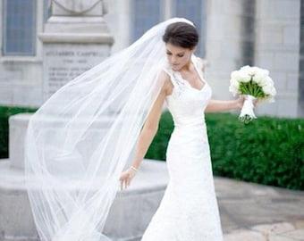 Plain 1 Tier Chapel Length Tulle Veil With Raw Edge | Chapel Veil | Wedding Veil | Bridal Veil | Long Wedding Veil | Ivory Veil | VG1030