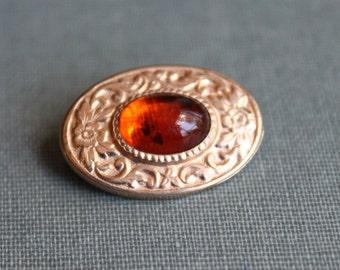 Edwardian Amber Glass Collar Pin / James Doran