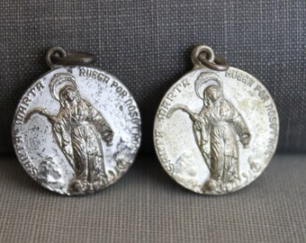 Antique Spanish St Martha / Marta Religious Medal