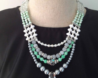 Artic Chill Statement Pearl Multistrand Necklace in Mint, White and SIlver with Pearls and Crystals