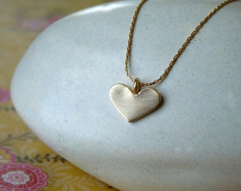 Gold Necklace - Handmade Heart Pendant Necklace - 18k Goldfilled Chain