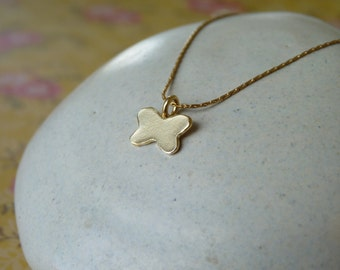 Gold Pendant Necklace - Gold Butterfly Pendant - 18k Gold Necklace - Handcrafted Jewelry