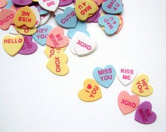 Valentine's Day Confetti, Conversation Heart Confetti, Table Confetti, Conversation Hearts,