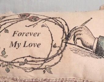Pillow,  Home Decor, Decorative Pillow, Art Pillow,  Wedding Gift, Sofa Pillow,  Long Lumbar Pillow, Message Pillow, Shabby Cottage Style