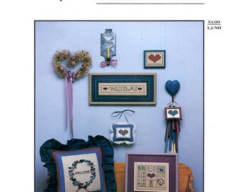 Needle Hearts Welcome Pillow Sampler Family Friends Greetings Home House Entertaining Counted Cross Stitch Embroidery Craft Pattern Leaflet