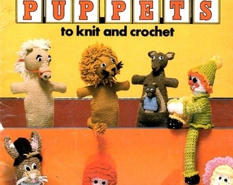 Toys and Puppets to Knit and Crochet Lion Horse Kangaroo Rabbit Mouse Goose Dog Bear Hen Clown Dolls Craft Pattern Leaflet Leisure Arts 136