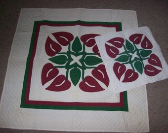 Handquilted Hawaiian Anthurium Wall Hanging or Table Cover  and Pillow Cover
