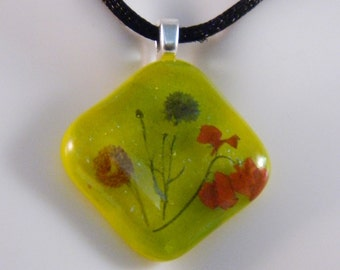 Flower Bouquet in a Summer Green Fused Glass Pendant on a Satin Cord, PC2