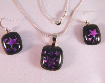 Dichroic Fused Glass Earrings and Pendant Necklace, Purple Stars on Black, Set6