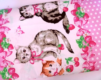 Cotton fabric, Japanese fabric, Lolita, Kitten, Cherries, Strawberries, Bright pink fabric, DIY crafts cosplay, 1 yard FB146