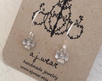Delicate, beautiful, tiny silver flowers with a touch of rhinestone on beautiful sterling ear wire GIFT WRAPPED