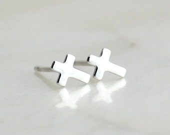 Teeny Tiny Cross Sterling Silver Post/Stud Earrings - Eco Friendly & Nickel Free