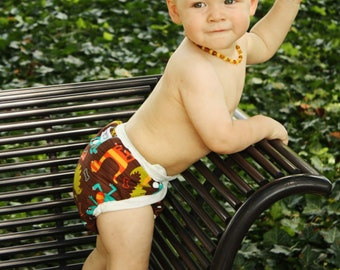 Baby Boy Cloth Diaper Cover - PATENT PENDING Design fits Newborn to Potty Training - Dino Dudes - Use w/ our AI2 Inserts Prefolds or Fitteds