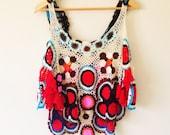 Vintage Colorful Handmade Crochet Tank Top Boho Hippie Festival Shirt SMALL/MEDIUM/LARGE