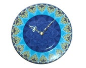 Gold, Turquoise and Blue Wall Clock - Porcelain Plate Clock - Kitchen Clock - Unique Wall Clock - Wall Decor - Housewarming Gift - 1822