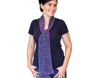 Zara Lace Scarf Long Hand Knit Blue Multicolor Merino Wool Finger Fringe