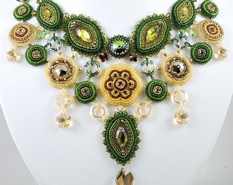 Forest Song Necklace Swarovski - B.O.T.B 13, Bead Embroidered Bib Style Necklace, OOAK