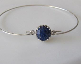 Sterling Silver Bracelet, Gemstone Bracelet, Lapis Lazuli Bracelet, Crown Bracelet, Bangle Bracelet, Jewelry, Friendship Bracelet, Gift