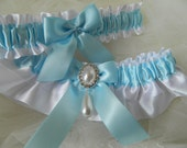 Wedding Garter Set White And Light Blue Satin With Tear Drop Pearl