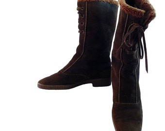 Vintage 70s Panzl Austrian Calf Boots w Laces // Women 7M // Robin Hood Brown Suede w Wool Fleece Lining // Woodland Apres Ski Rustic