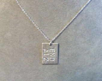 END ALZ -- small rectangular pendant --sterling silver --Alzheimer's awareness