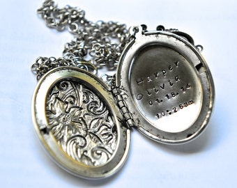 Personalized Locket Necklace, Hand Stamped Locket, Floral Locket Necklace, Message Locket, Silver Ox Brass